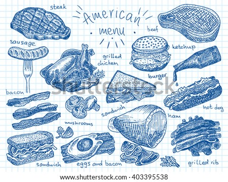 American menu, snack, ham, cheese, steak, hamburger, mushroom, bread, ribs, burger, fastfood, sandwich, grill, chicken, eggs, sausage, bacon, ketchup, fries - stock vector