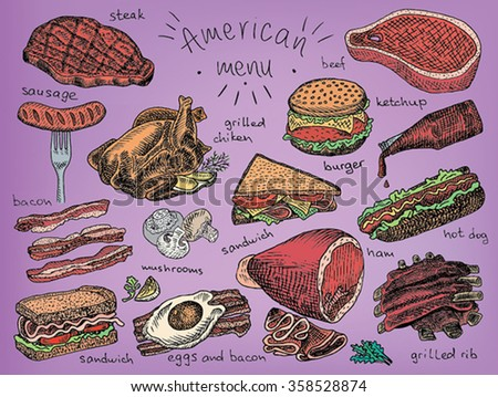 American menu, steak, sausage, bacon, sandwich, mushroom, grilled chicken, eggs, eggs and bacon, grill, grilled ribs, ribs, ham, hot dog, burger, ketchup, chicken - stock vector