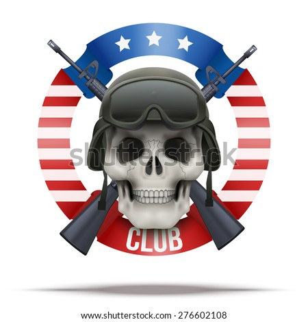 American Military club or company badges and labels logo. Skull and rifles. Vector Illustration isolated on background. - stock vector