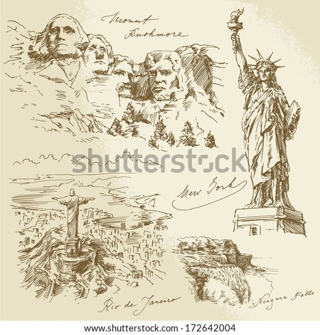 American monuments - hand drawn collection - stock vector
