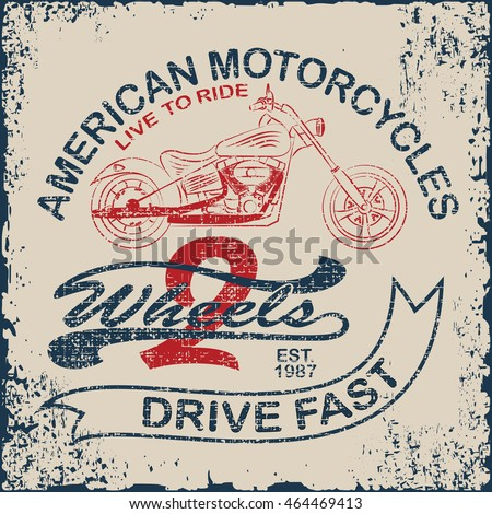 American Motorcycle Emblem.Vintage typography design for biker club, two wheels, t-shirts, prints.