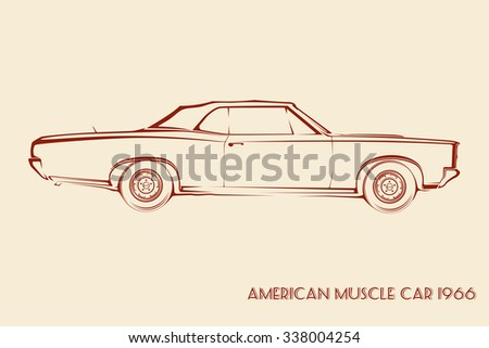 American muscle car silhouette 60s vintage vector - stock vector