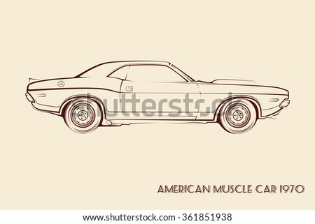 American muscle car silhouette 70s vintage vector - stock vector