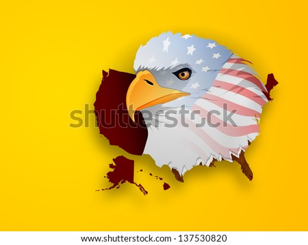Eagle cartoon holding american flag stock illustration 145115053 american national bird bald eagle in flag colors on yellow background sciox Choice Image