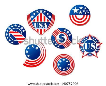 American National Symbols Signs Heraldry Banner Stock Vector
