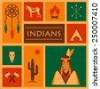 american native indian, vector apache ethnic illustration,   - stock photo