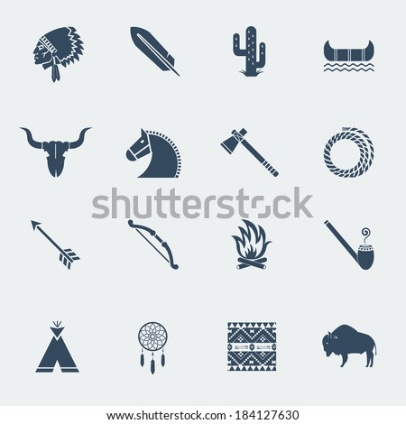 American native pictograms isolated on white.Vector icons in flat style design - stock vector