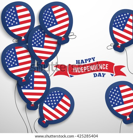 American patriotic flag balloons greeting card. Vector illustration for 4th of July United Stated independence day. USA patriotic concept art. America color shapes style. Fourth of banner. Navy red