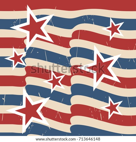 American patriotic stars and stripes pattern in vintage colors.