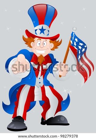 American Patriotic Uncle Sam - stock vector