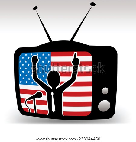 american politician on tv, man speaks on booth with usa flag in background - stock vector