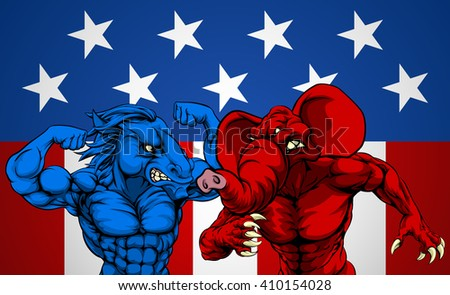 American politics election concept with animal mascots of the democrat and republican political parties, a blue donkey and red elephant fighting.