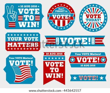 American presidential election 2016 badges and vote labels. Badges and signs for presidential election. Symbols of USA president election. Vector illustration - stock vector
