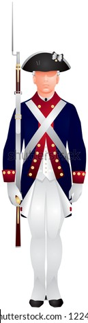 American revolutionary war soldier in Continental army uniform, U.S. Army Old Guard infantryman on guard duty, ceremonial event - stock vector