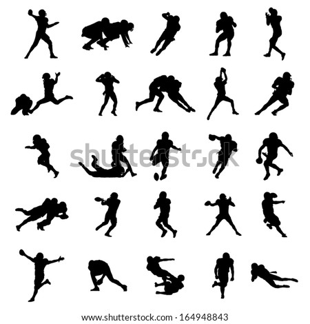 American Rugby Football Black Silhouettes Vector Illustration