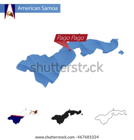 American Samoa blue Low Poly map with capital Pago Pago, four versions of map. Vector Illustration.