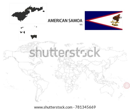 American samoa us map on world vectores en stock 781345669 american samoa us map on a world map with flag on white background gumiabroncs Image collections