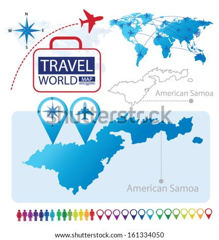 American Samoa. World Map. Travel vector Illustration. - stock vector