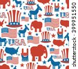 American seamless pattern. USA Election Symbols National pattern. Uncle Sam hat. America flag and map. Democrat Donkey and Republican Elephant. Patriotic background. USA Election texture.  - stock vector