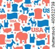 American seamless pattern. USA Election Symbols National pattern. Uncle Sam hat. Americans flag and map. Democrat Donkey and Republican Elephant. Patriotic background. USA Election texture.  - stock vector