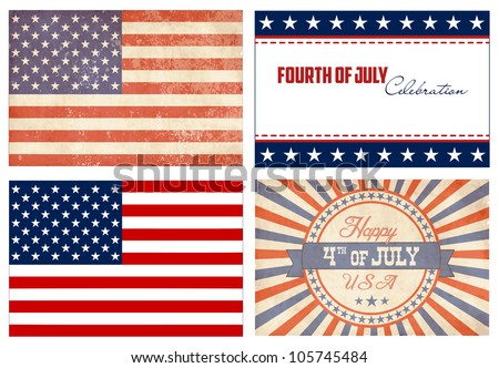American Set. 2 types of flags and 2 Independence day cards - stock vector