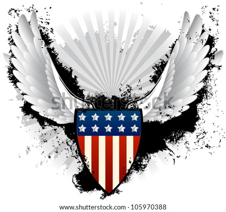 American Shield Grunge - stock vector