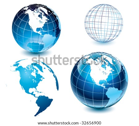 American side of the world-globe - stock vector