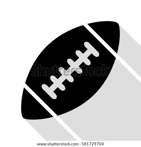 American simple football ball. Black icon with flat style shadow path.