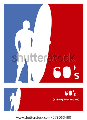 american sixties surf frames with rider - stock vector