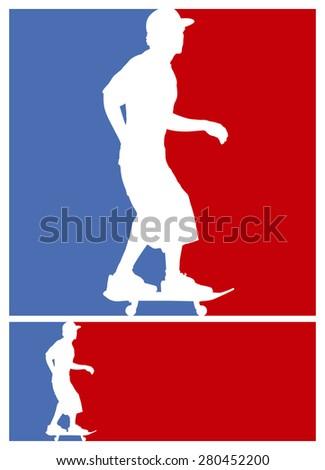 american skate scene with rider - stock vector