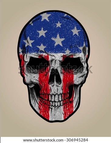 american skull face and grunge flag or texture - stock vector