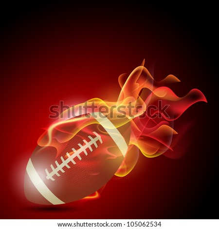 American soccer football in the fire. EPS 10 - stock vector