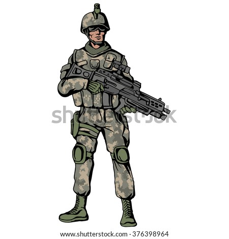 American soldier - stock vector