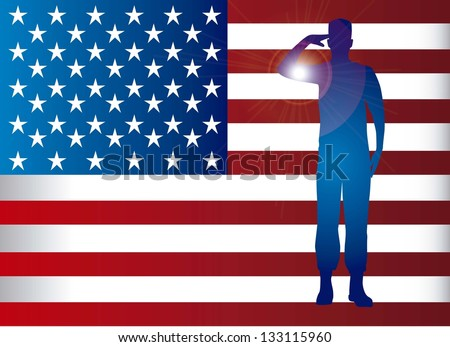 american soldier over flag background. vector illustration