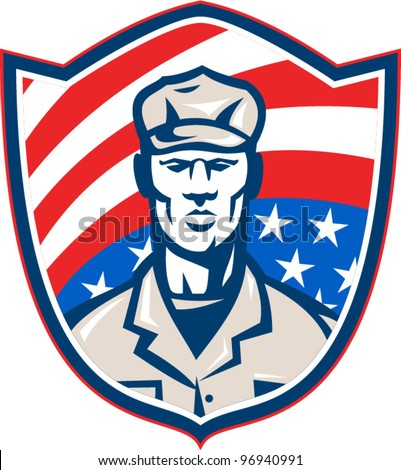 American Soldier With Stars and Stripes Shield Retro
