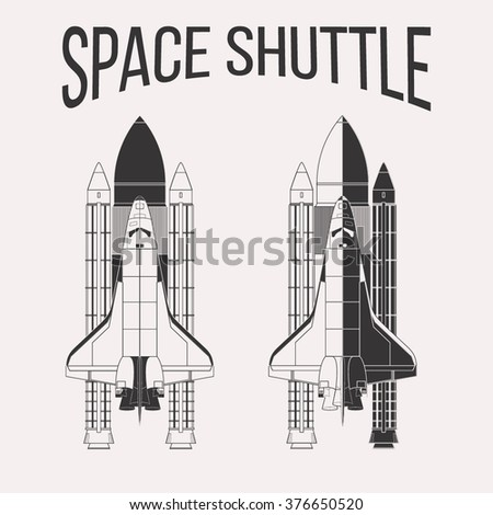 American space shuttle design isolated on white background - stock vector