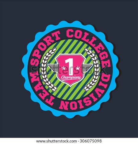 American sport college varsity team division champions logo, emblem, label. Very easy to use for apparel. Pink color version. - stock vector