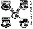 American sports badge icon symbol set EPS 10 vector, grouped for easy editing. No open shapes or paths. - stock