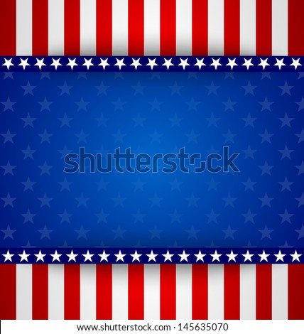 American starry background with stars and stripes - stock vector