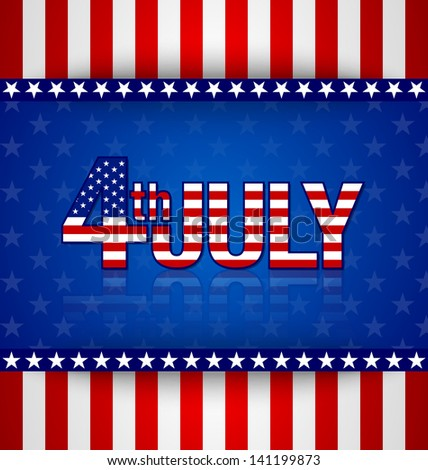 American starry background with stripes and 4th july title