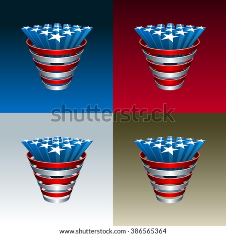 American Stars bunch. Elements are layered separately in vector file. - stock vector
