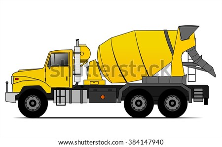 American style cement truck - stock vector