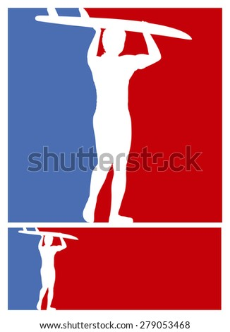 american surf frames with blue and red colors - stock vector