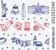 American symbols icons seamless pattern - stock vector