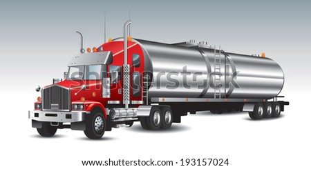 American tank truck and fuel tanks. Vector illustration - stock vector