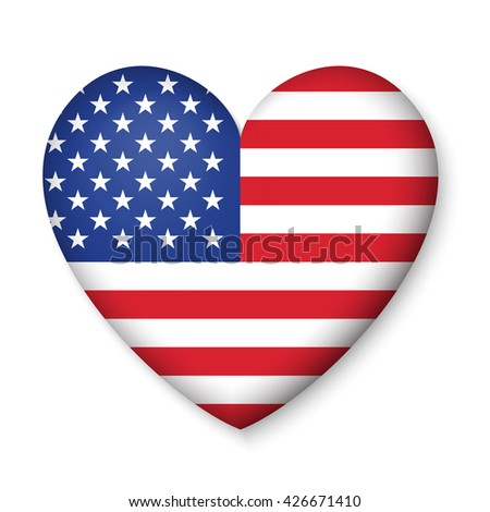 American United States Flag in glossy heart button of icon. USA emblem isolated on white background. National concept sign. Independence Day Symbol. 4 July freedom patriotic banner with pride color - stock vector