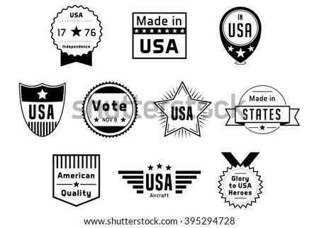 American USA Badges Black Vector Logos - stock vector
