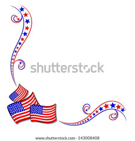 American USA flag and stars border frame with copy space - stock vector