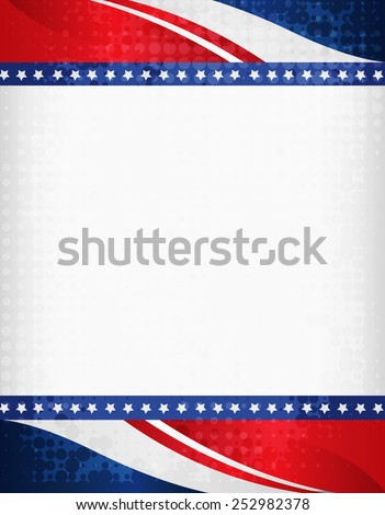 American / USA grunge halftone dotted patriotic frame with ribbon banner  on top and bottom as header and footer. A traditional vintage american poster design - stock vector