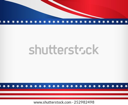 American / USA patriotic frame with empty space on center A traditional vintage american poster design - stock vector